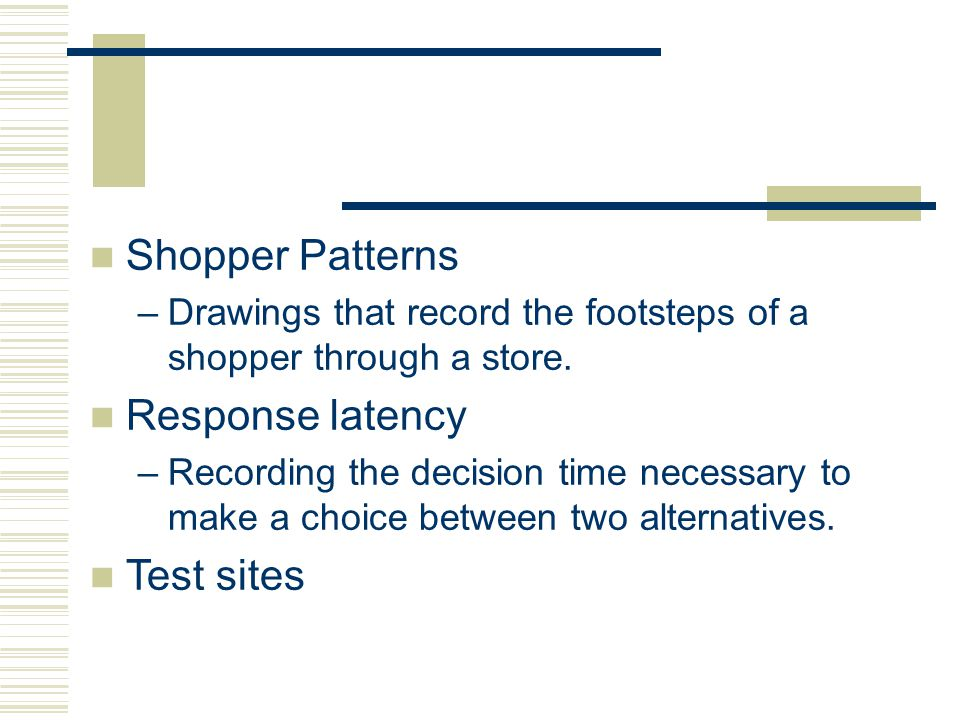 Shopper Patterns Response latency Test sites