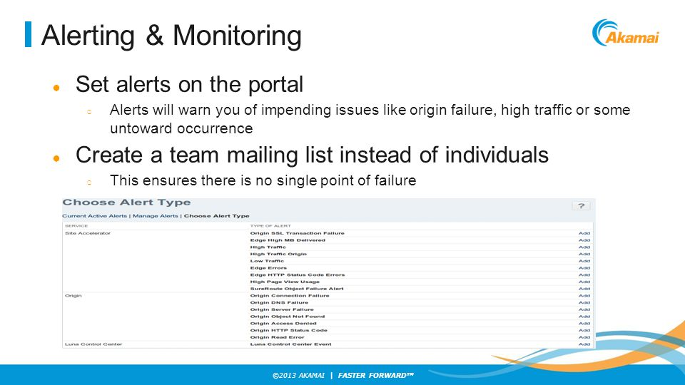 Alerting & Monitoring Set alerts on the portal