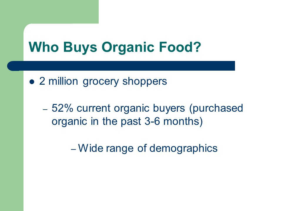 Who Buys Organic Food 2 million grocery shoppers