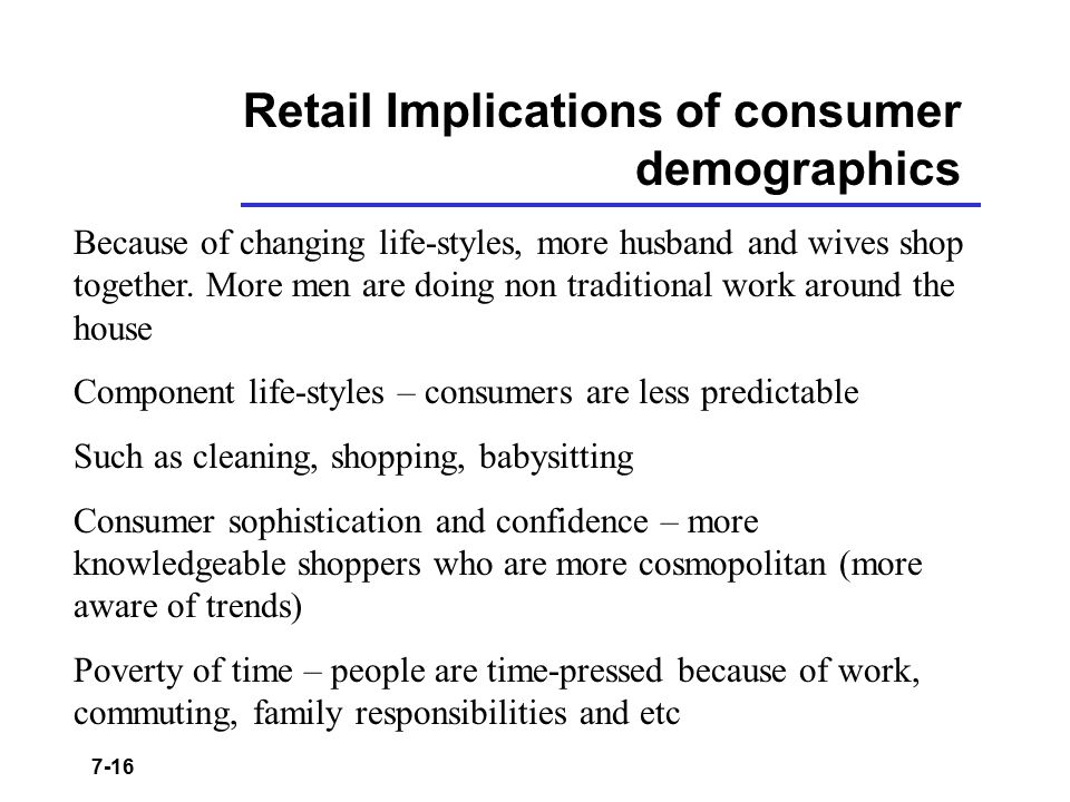 Retail Implications of consumer demographics