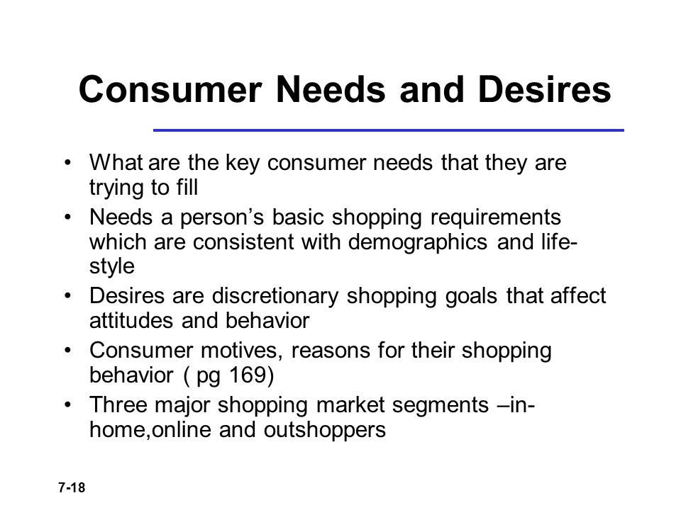 Consumer Needs and Desires