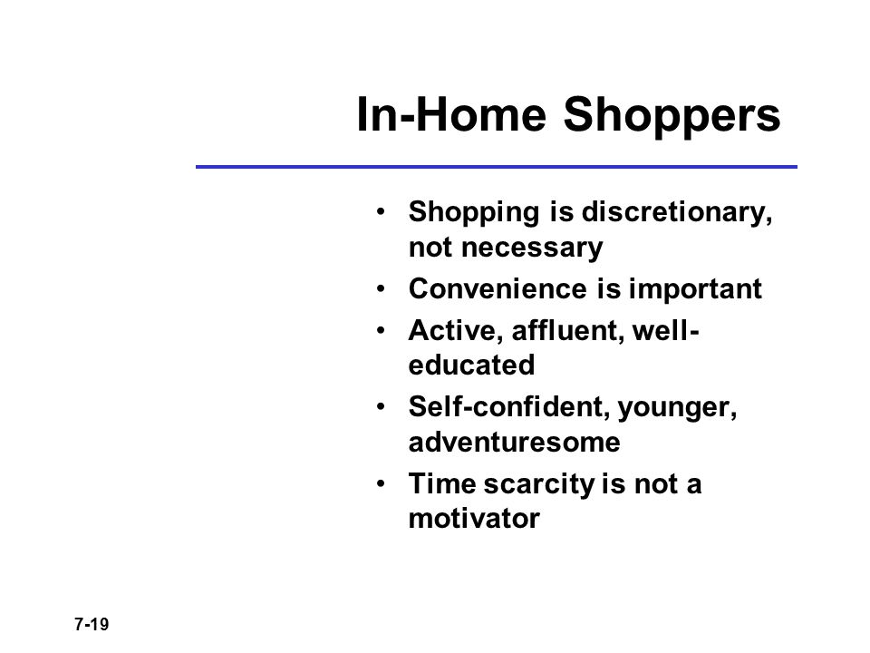 In-Home Shoppers Shopping is discretionary, not necessary