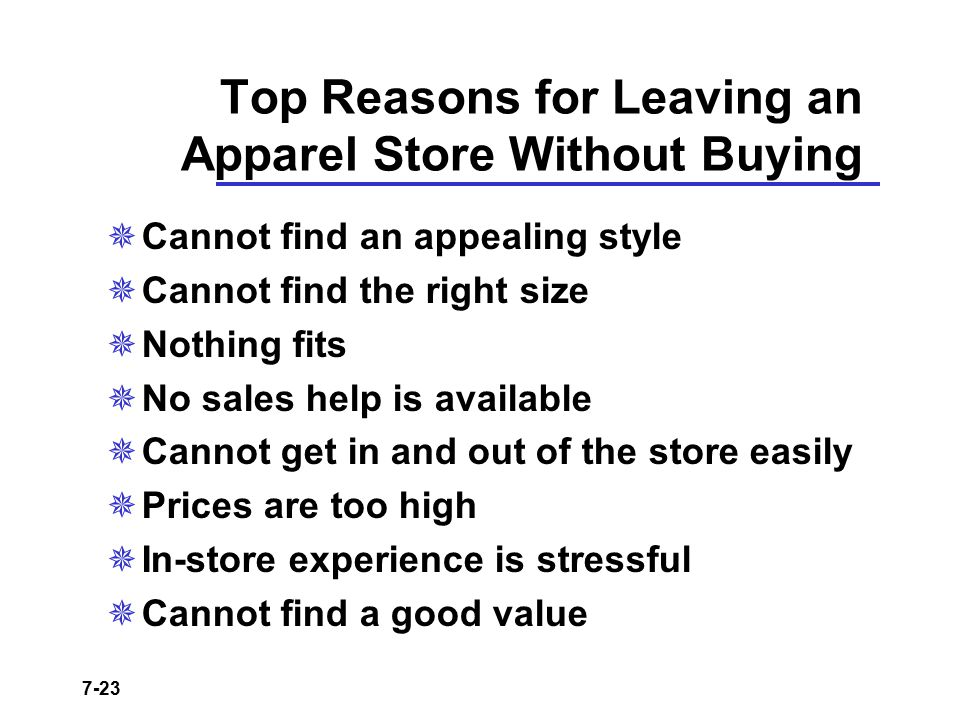 Top Reasons for Leaving an Apparel Store Without Buying