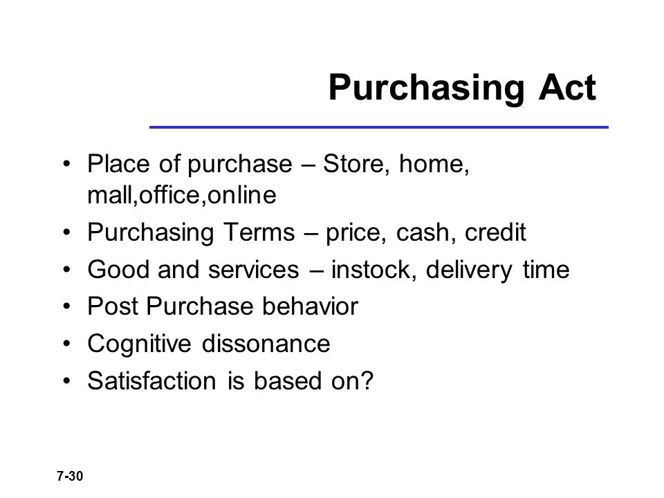 Purchasing Act Place of purchase – Store, home, mall,office,online