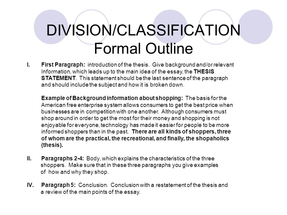 division essay outline The division and classification essay outline groups similar topics or ideas into paragraphs each point supporting the overall thesis is addressed in an individual paragraph with evidence.