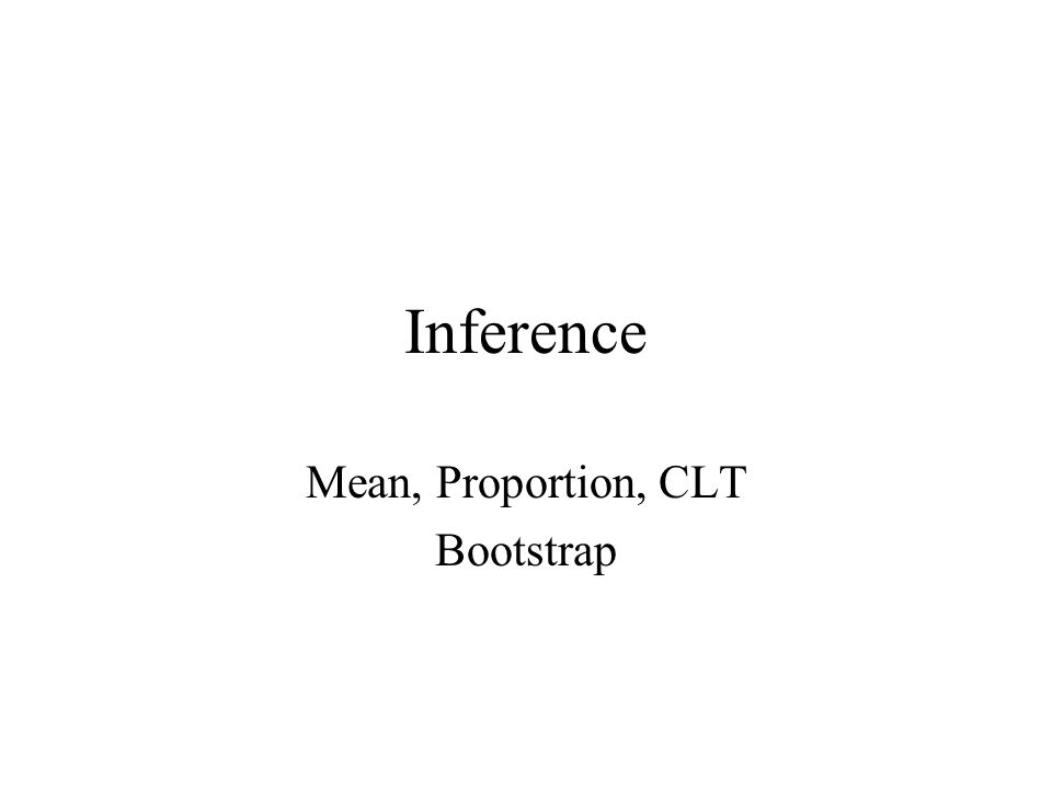 Mean, Proportion, CLT Bootstrap