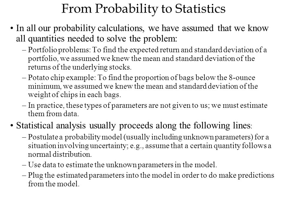 From Probability to Statistics