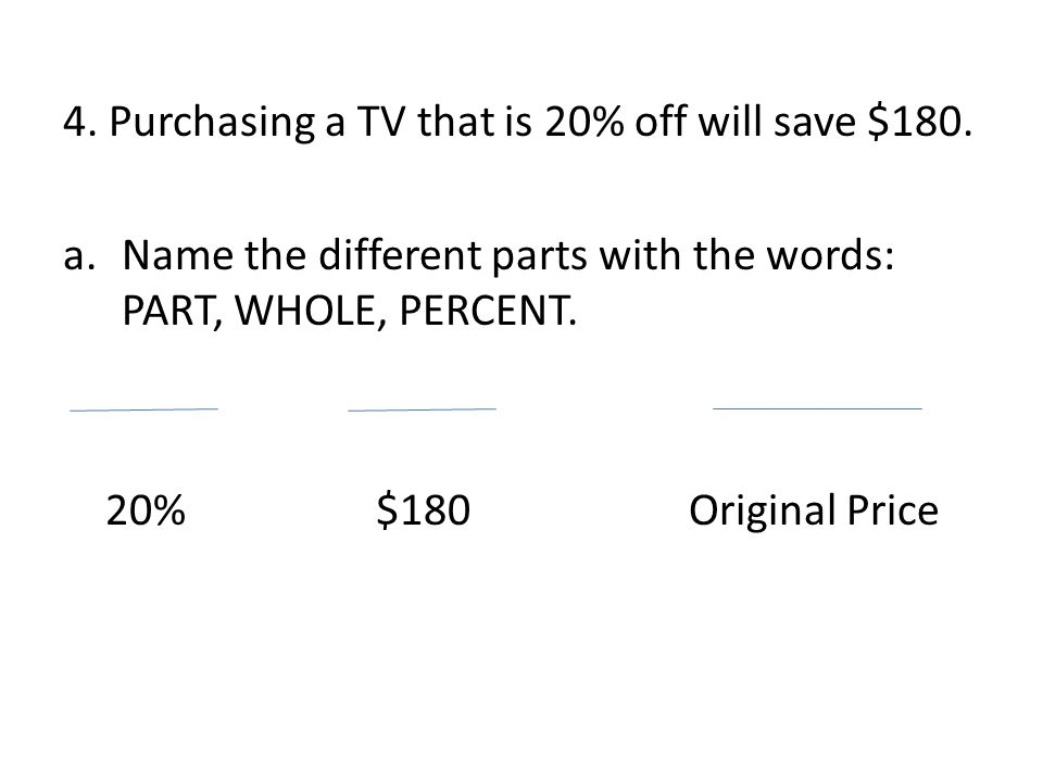4. Purchasing a TV that is 20% off will save $180.