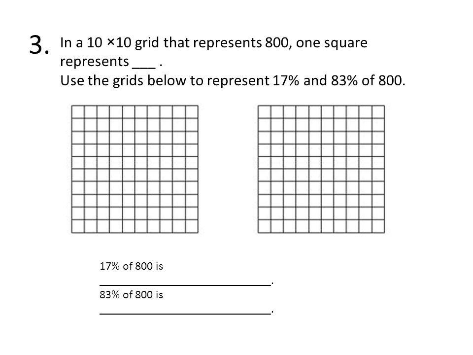 3. In a 10 ×10 grid that represents 800, one square represents ___ .