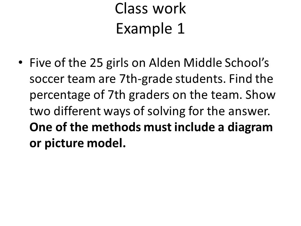 Class work Example 1