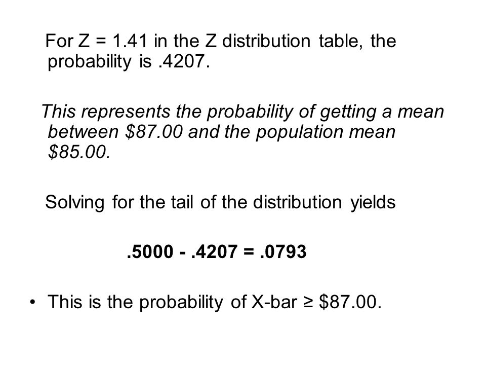 For Z = 1.41 in the Z distribution table, the probability is .4207.