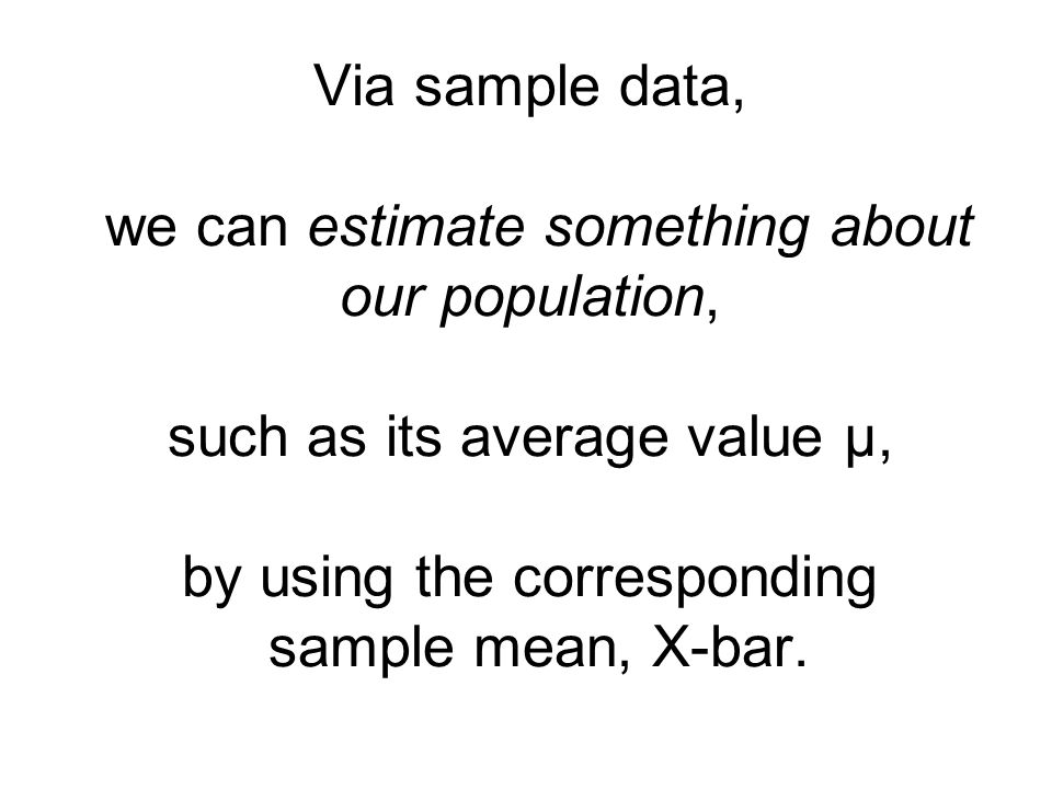 Via sample data, we can estimate something about our population, such as its average value µ, by using the corresponding sample mean, X-bar.