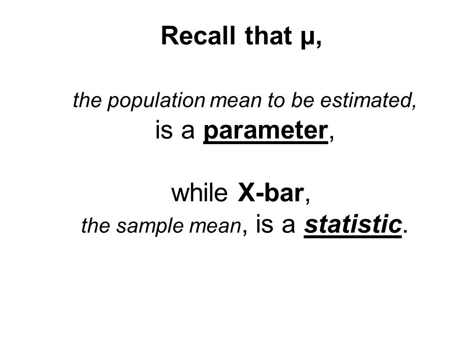 Recall that µ, the population mean to be estimated, is a parameter, while X-bar, the sample mean, is a statistic.
