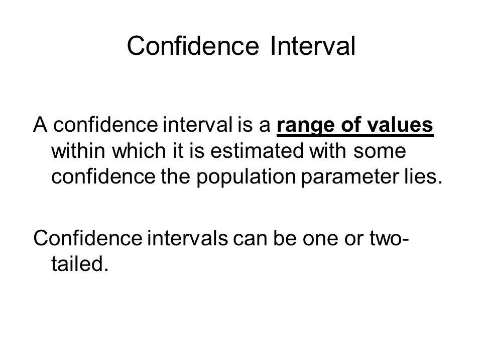 Confidence Interval A confidence interval is a range of values within which it is estimated with some confidence the population parameter lies.