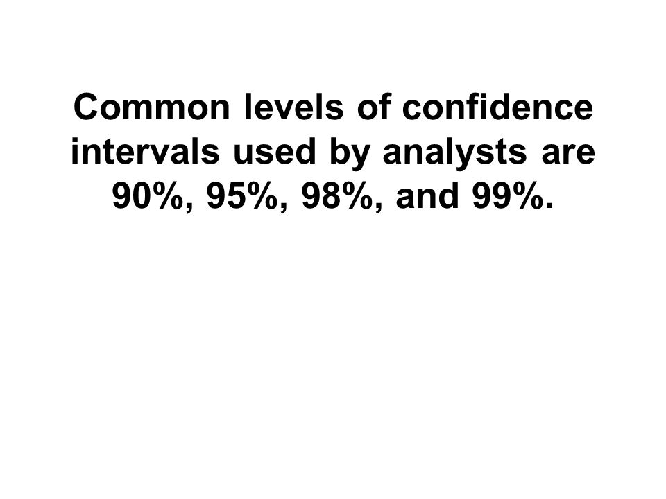 Common levels of confidence intervals used by analysts are 90%, 95%, 98%, and 99%.