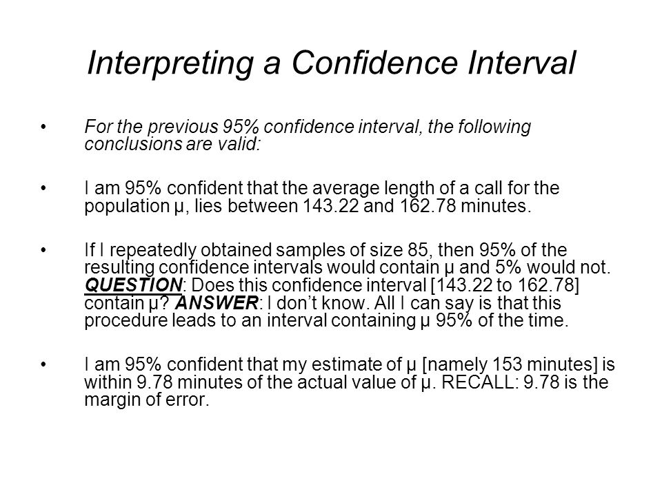 Interpreting a Confidence Interval