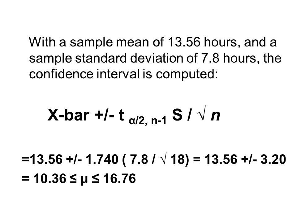 With a sample mean of 13.56 hours, and a sample standard deviation of 7.8 hours, the confidence interval is computed: