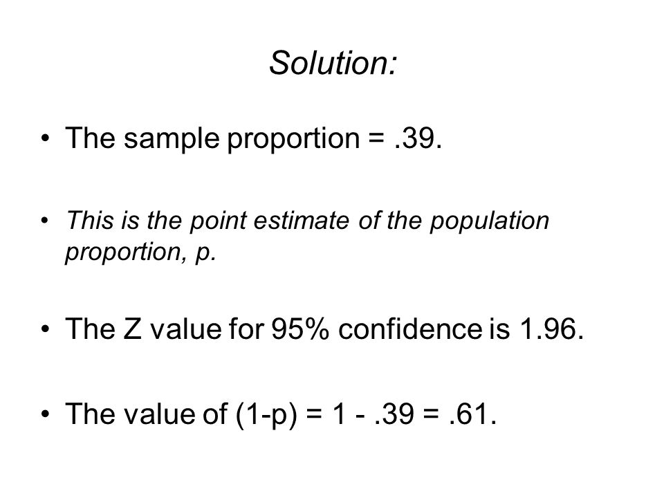 Solution: The sample proportion = .39.