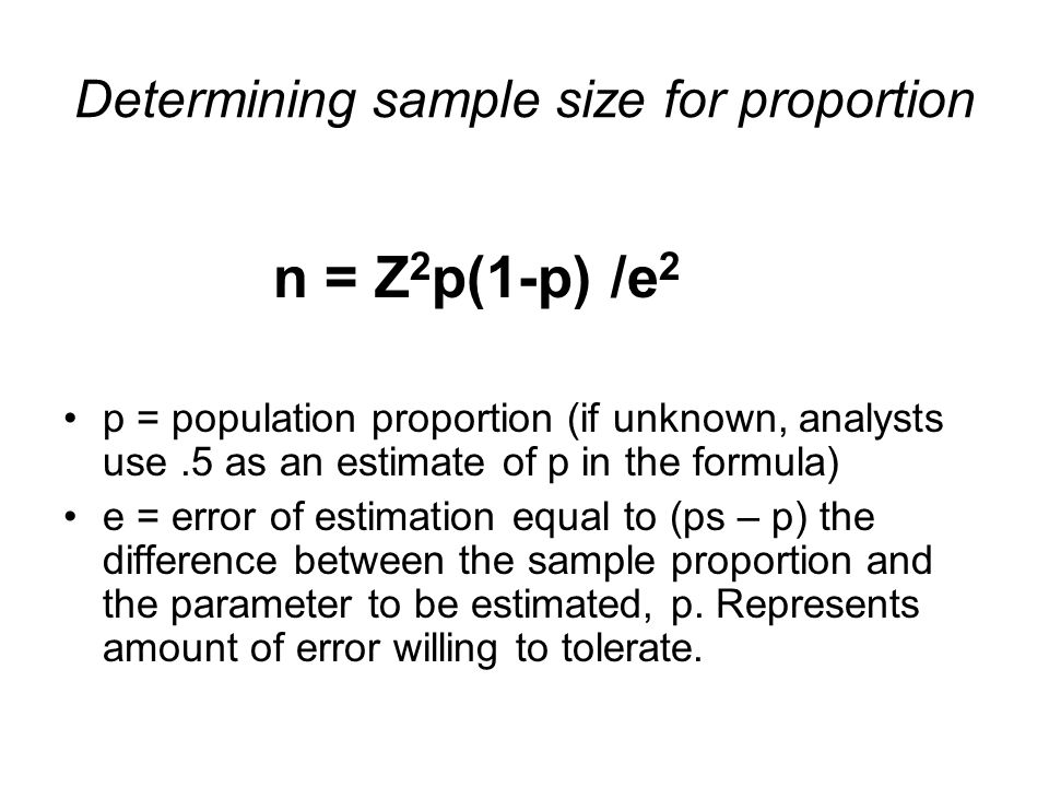 Determining sample size for proportion