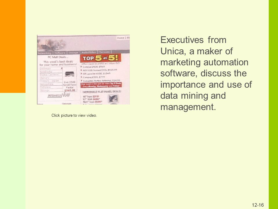 Executives from Unica, a maker of marketing automation software, discuss the importance and use of data mining and management.