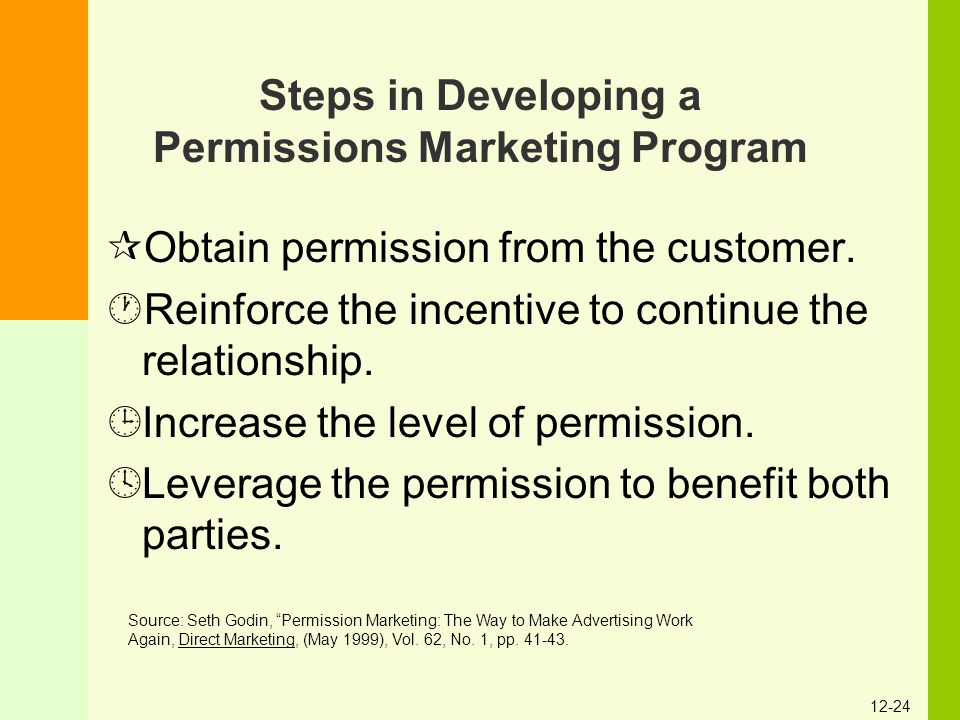 Steps in Developing a Permissions Marketing Program