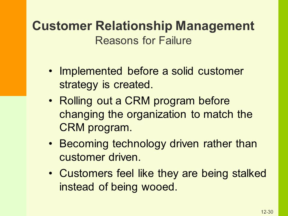 Customer Relationship Management Reasons for Failure