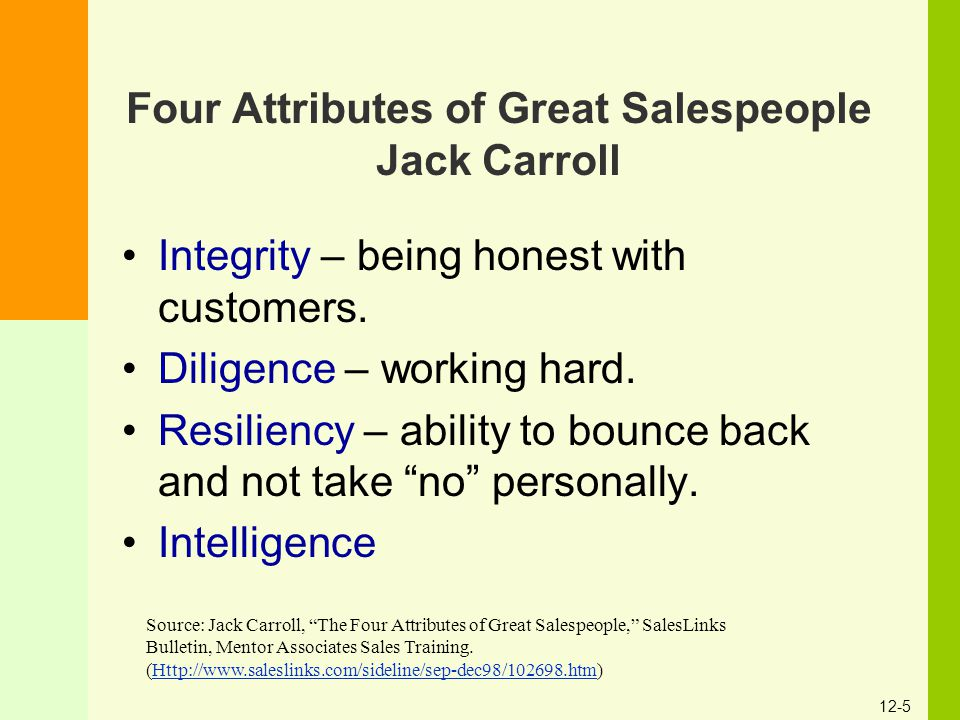 Four Attributes of Great Salespeople Jack Carroll