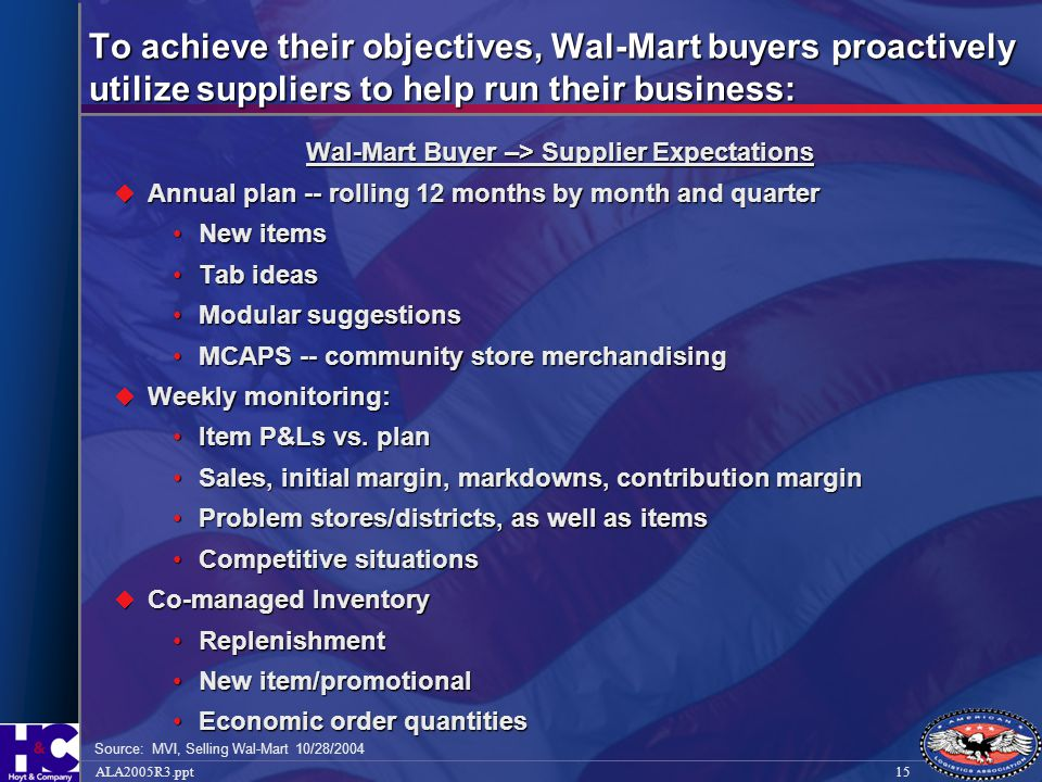 Wal-Mart Buyer –> Supplier Expectations