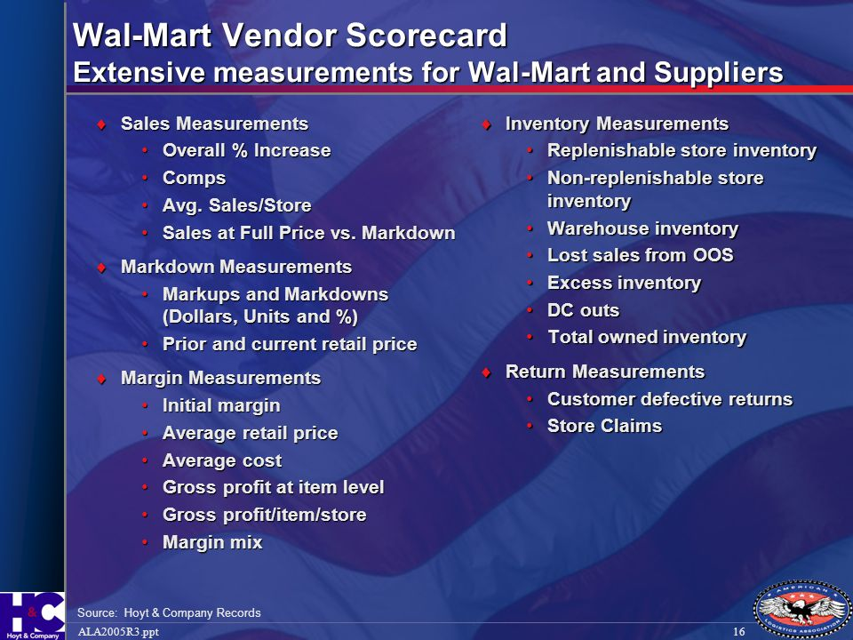 Wal-Mart Vendor Scorecard Extensive measurements for Wal-Mart and Suppliers