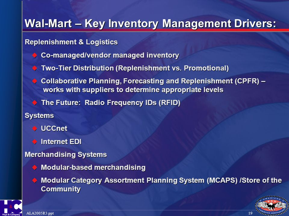 Wal-Mart – Key Inventory Management Drivers: