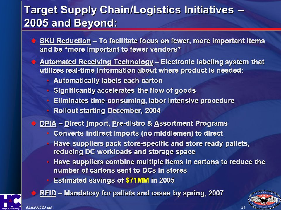 Target Supply Chain/Logistics Initiatives – 2005 and Beyond:
