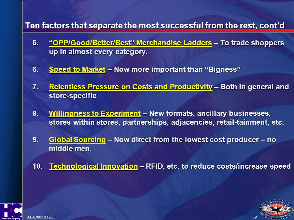 Ten factors that separate the most successful from the rest, cont'd