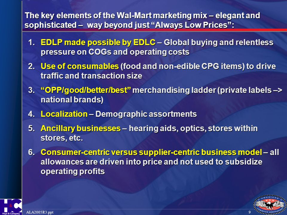 The key elements of the Wal-Mart marketing mix – elegant and sophisticated – way beyond just Always Low Prices :