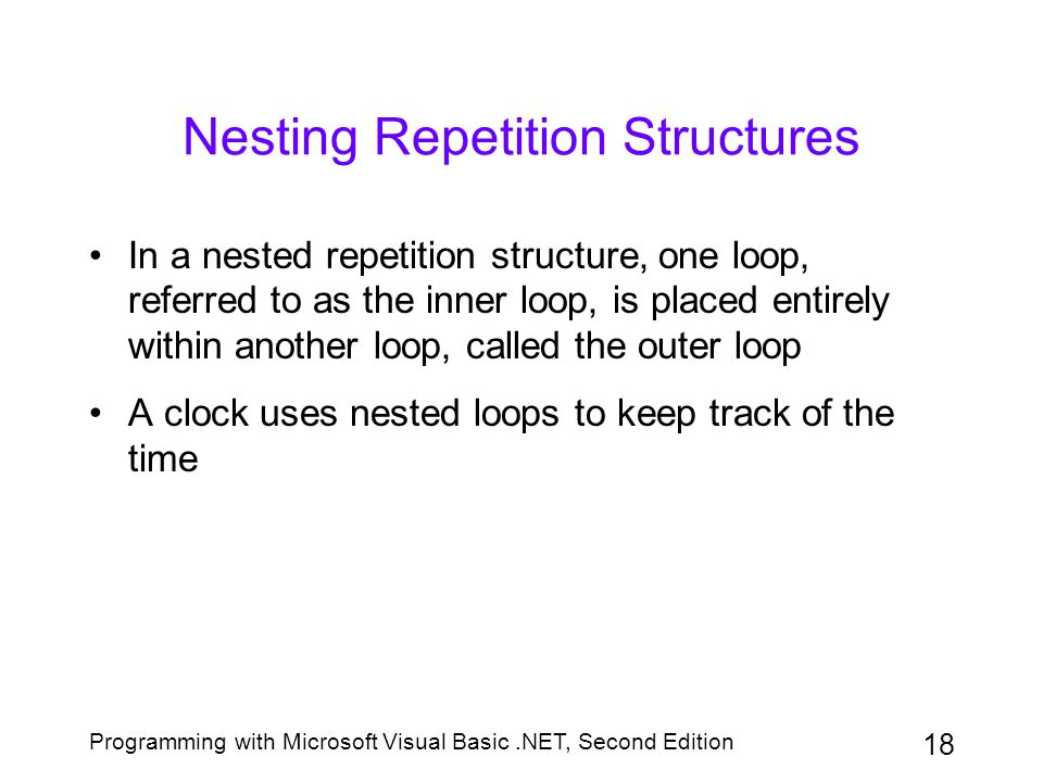 Nesting Repetition Structures