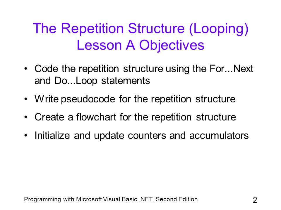 The Repetition Structure (Looping) Lesson A Objectives