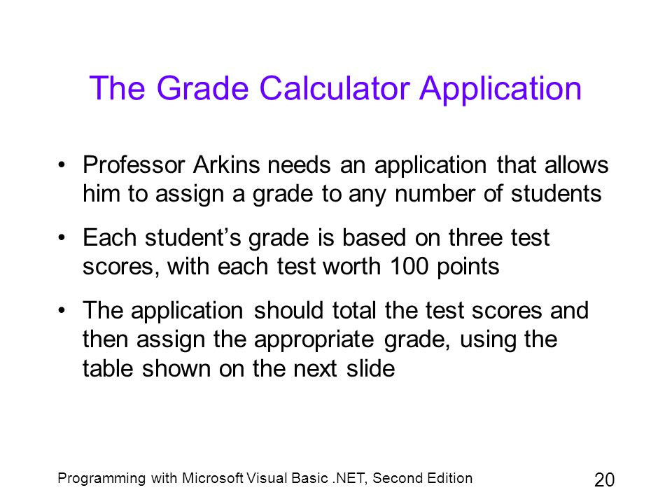 The Grade Calculator Application