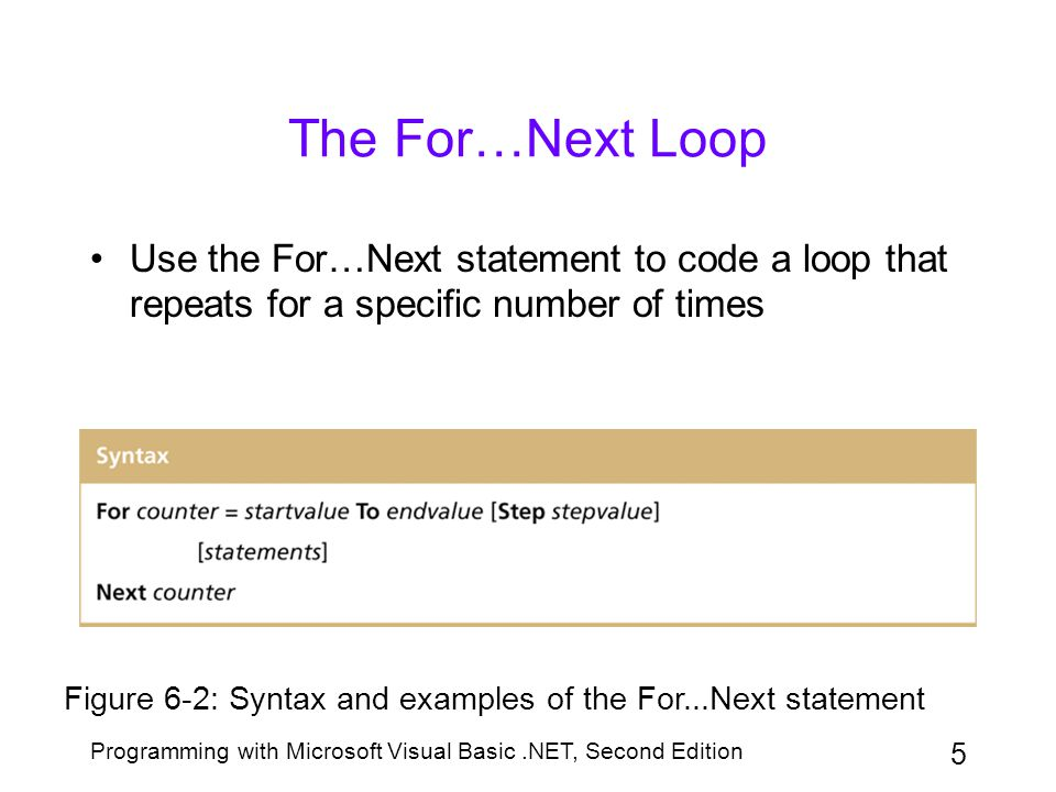 The For…Next Loop Use the For…Next statement to code a loop that repeats for a specific number of times.