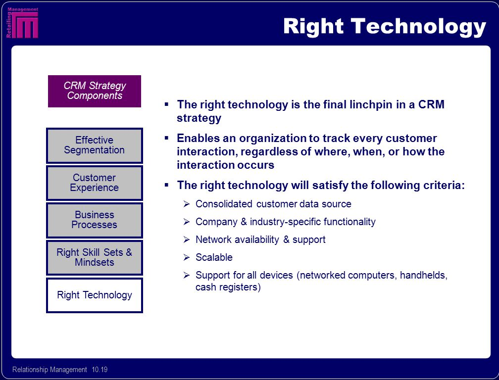 Right Technology CRM Strategy Components. The right technology is the final linchpin in a CRM strategy.