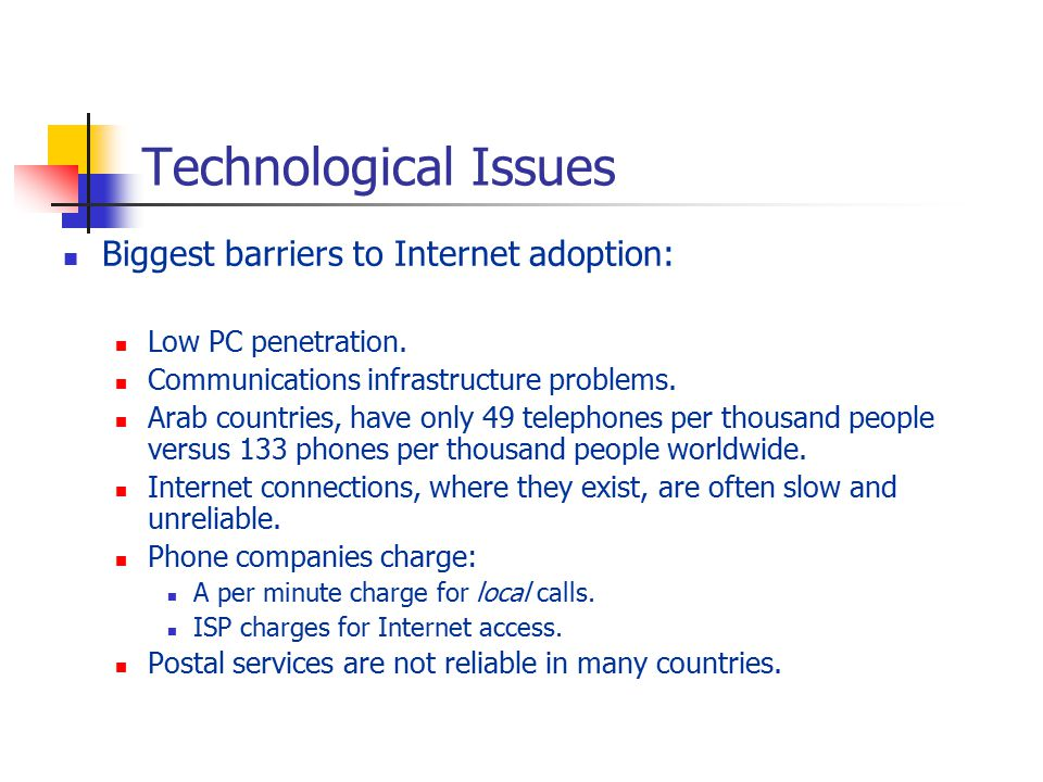 Technological Issues Biggest barriers to Internet adoption: