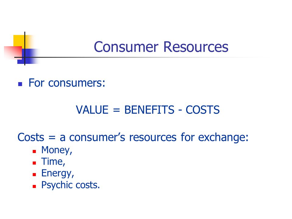 Consumer Resources For consumers: VALUE = BENEFITS - COSTS