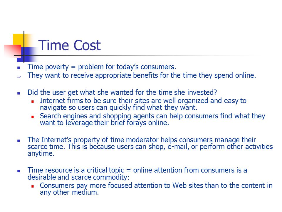 Time Cost Time poverty = problem for today's consumers.