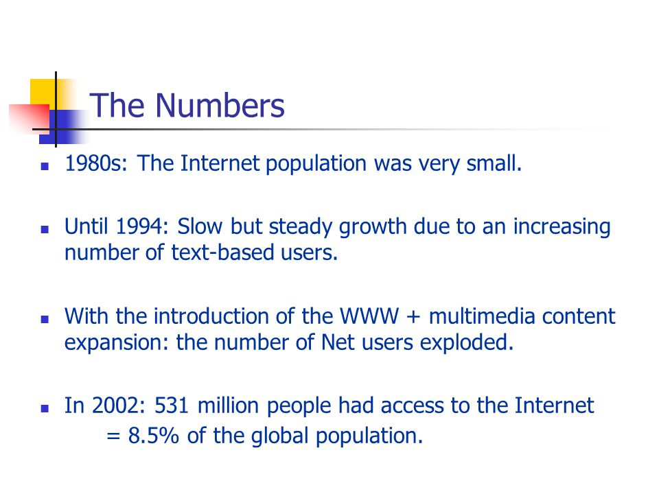 The Numbers 1980s: The Internet population was very small.