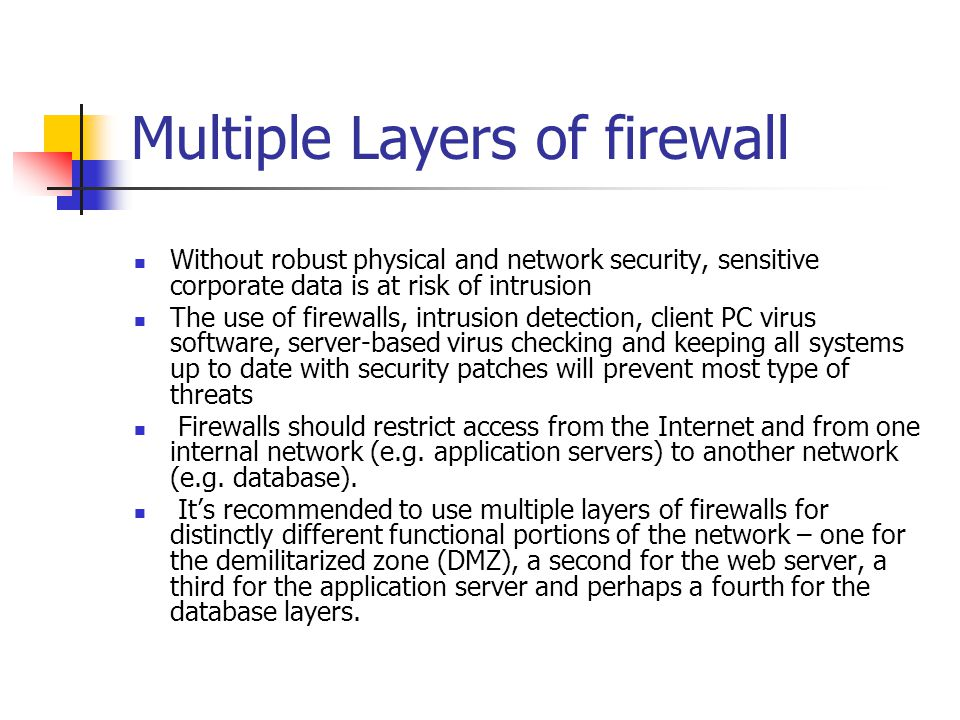 Multiple Layers of firewall