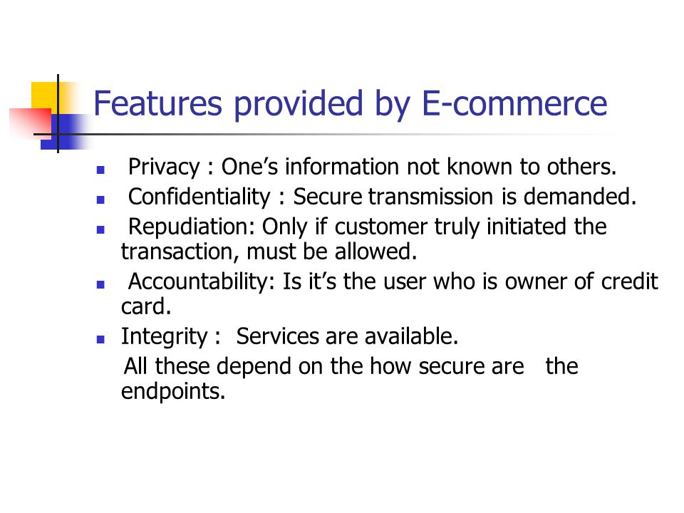 Features provided by E-commerce