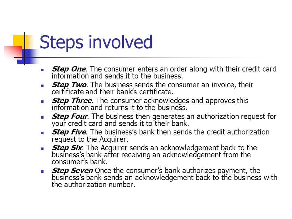 Steps involved Step One. The consumer enters an order along with their credit card information and sends it to the business.