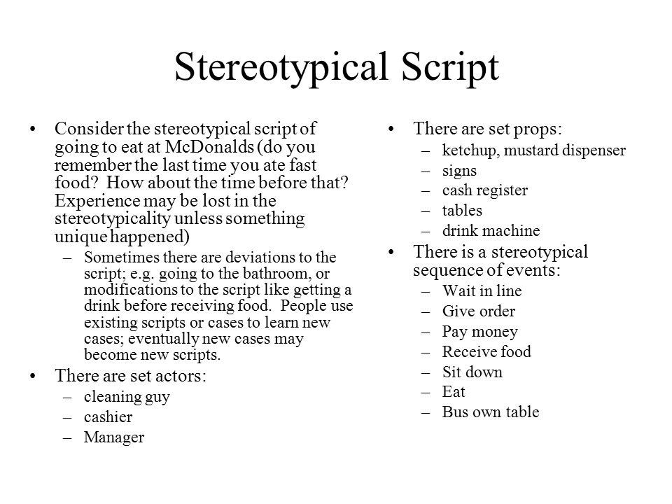 Stereotypical Script
