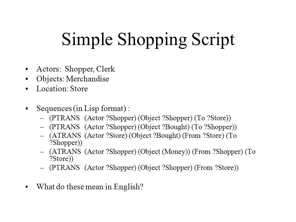 Simple Shopping Script