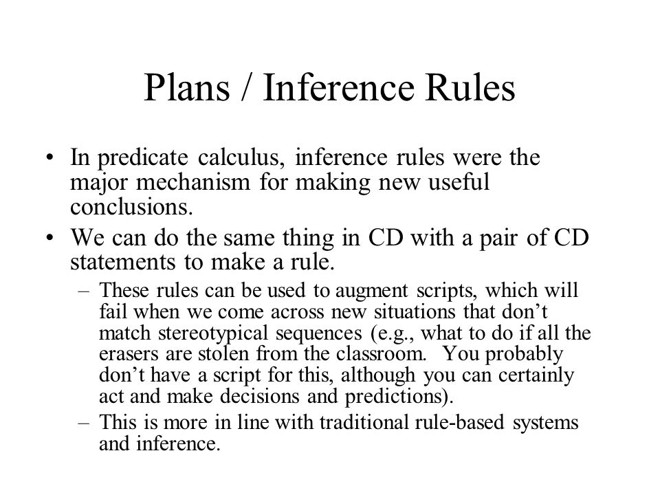 Plans / Inference Rules