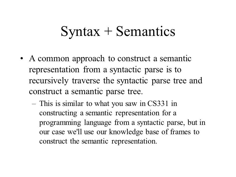 Syntax + Semantics