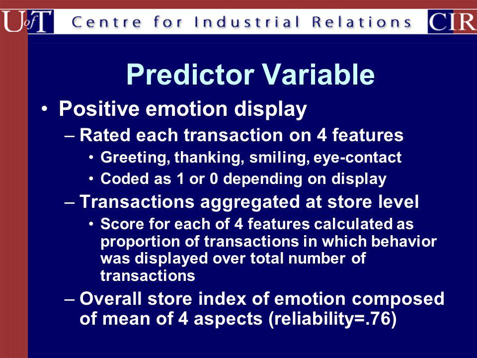 Predictor Variable Positive emotion display